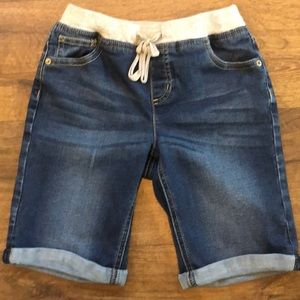 Justice Girls Knit Waist Denim Bermuda Shorts